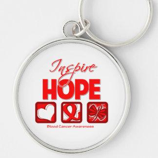 El cáncer de sangre inspira esperanza llavero redondo plateado