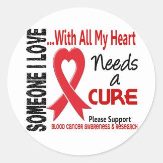 El cáncer de sangre necesita una curación 3 pegatina redonda