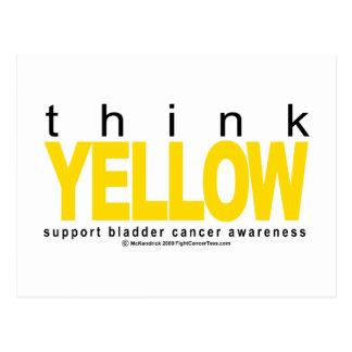 El cáncer de vejiga PIENSA amarillo Tarjeta Postal