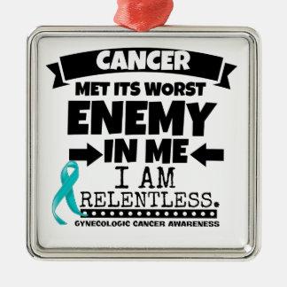 El cáncer ginecológico hizo frente a su enemigo adorno navideño cuadrado de metal