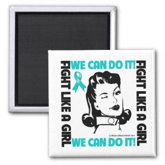 El cáncer ovárico - lucha como un chica - podemos  imán cuadrado