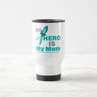 El cáncer ovárico mi héroe es mi mamá taza térmica