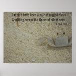El cangrejo desigual agarra el poema póster