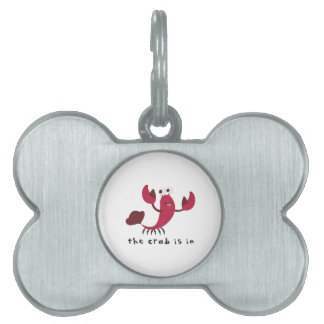 El cangrejo está adentro placa de nombre de mascota