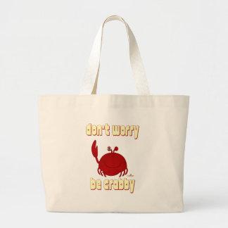 El cangrejo rojo sonriente no se preocupa sea bolsa lienzo