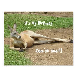 """El canguro invita a la fiesta de cumpleaños invitación 4.25"""" x 5.5"""""""