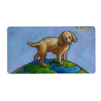 El caniche es el mejor perro en la pintura linda etiqueta de envío