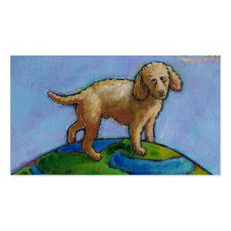 El caniche es el mejor perro en la pintura linda tarjetas de visita