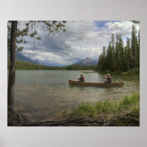 El Canoeing del lago Póster