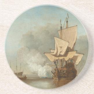 El cañón tiró por Willem van de Velde el más joven Posavasos Manualidades