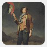 El cantante Chenard, como a Sin-Culotte, 1792 Pegatina Cuadrada