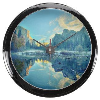 El Capitan and Three Brothers Reflection Aqua Clock