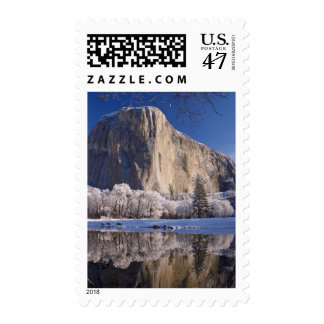 El Capitan reflects into the Merced River in 2 Stamp
