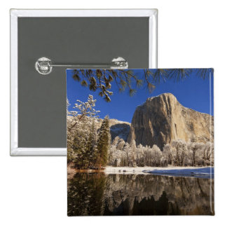 El Capitan reflects into the Merced River in Pinback Button