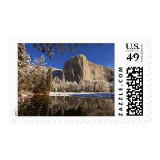 El Capitan reflects into the Merced River in Postage Stamp