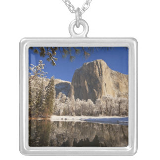 El Capitan reflects into the Merced River in Silver Plated Necklace