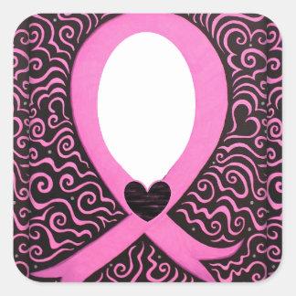 El capítulo de la cinta del rosa del cáncer de pegatina cuadrada