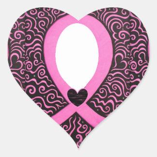 El capítulo de la cinta del rosa del cáncer de pegatina en forma de corazón
