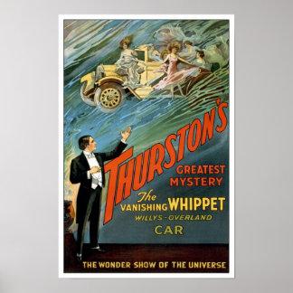 El Car de desaparición, 1925. Mago del vintage Póster
