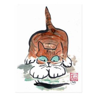 El caracol negro exuda más allá del gatito, Sumi-e Tarjeta Postal