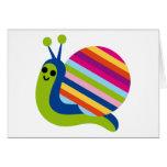 El caracol Slugs el animal lindo del dibujo animad Tarjeta