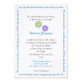 """El caramelo atesora el azul de Mitzvah del palo Invitación 5"""" X 7"""""""