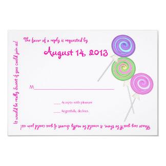 El caramelo atesora la tarjeta de la respuesta del invitación 8,9 x 12,7 cm