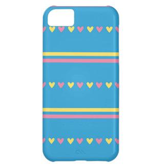 El caramelo azul de los corazones retros rayó el m funda para iPhone 5C