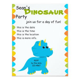 """El caramelo colorea a Dino Invitación 4.25"""" X 5.5"""""""