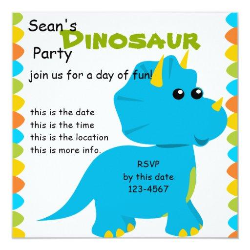 """El caramelo colorea a Dino Invitación 5.25"""" X 5.25"""""""