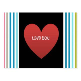 El caramelo coloreado raya amor usted postales