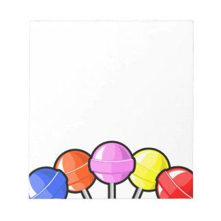 El caramelo colorido de los Lollipops trata gráfic Bloc