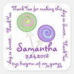 El caramelo de los Lollipops de Swirly le agradece Pegatinas Cuadradases