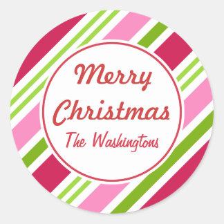 El caramelo del navidad raya a los pegatinas pegatina redonda