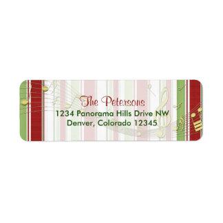 El caramelo raya etiquetas del remite del navidad etiqueta de remite