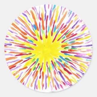 El caramelo riega a los pegatinas del artista del pegatina redonda
