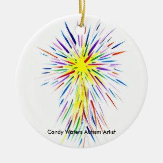 El caramelo riega al artista del autismo adorno navideño redondo de cerámica