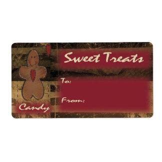 El caramelo trata la etiqueta del regalo del pan etiquetas de envío