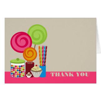 El caramelo y los dulces le agradecen cardar tarjeta de felicitación