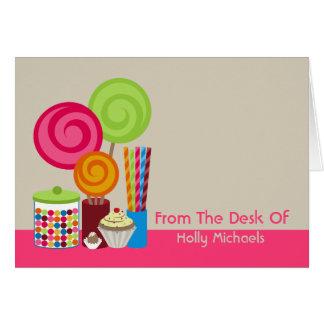 El caramelo y los dulces personalizaron Notecard Tarjeta Pequeña