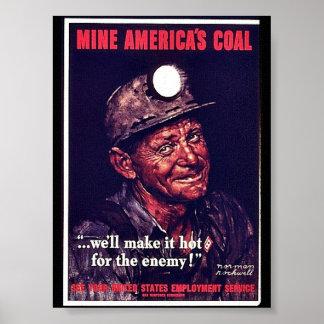 El carbón de América de la mina Poster