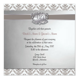 """El carbón de leña Brown y el boda elegante de Invitación 5.25"""" X 5.25"""""""