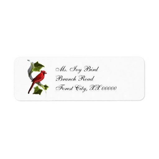 El cardenal en rama con la hiedra deja navidad etiqueta de remite