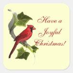El cardenal en rama con la hiedra deja navidad calcomanías cuadradass