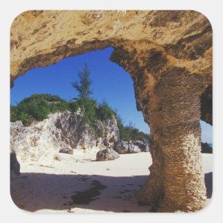 El Caribe, Bermudas, la ciudad de Tucker. Natural Pegatina Cuadrada