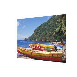 El Caribe, BWI, St Lucia, veleros, Soufriere. Lona Envuelta Para Galerias