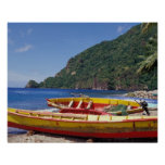 El Caribe, BWI, St Lucia, veleros, Soufriere. Poster