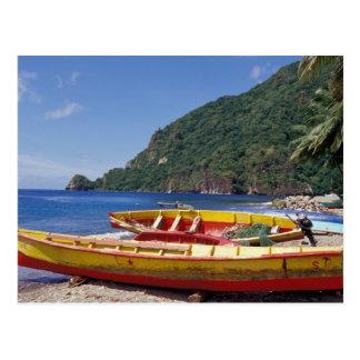El Caribe, BWI, St Lucia, veleros, Soufriere. Tarjetas Postales