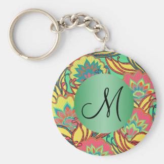 El Caribe colorea con monograma floral de Boho Llavero Redondo Tipo Pin
