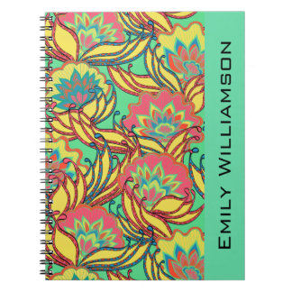 El Caribe colorea floral de Boho personalizado Cuaderno
